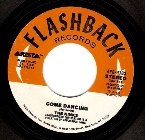 THE KINKS Come Dancing Vinyl Record 7 Inch US Flashback 1984